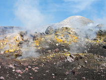 Mount Etna. Colorful volcanic fields in mount Etna royalty free stock photos