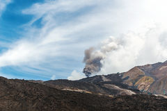 Mount Etna erupting with cloud of ash Stock Photo