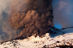 Mount Etna Eruption and lava flow Royalty Free Stock Image