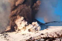 Mount Etna Eruption and lava flow Stock Images