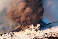 Mount Etna Eruption and lava flow Royalty Free Stock Photo
