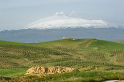 Mount Etna And Farmhouse On The Hill Stock Image