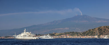 Mount Etna. And giardini naxos stock image