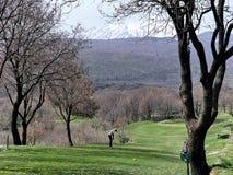 Mount Etna and Golfer Stock Photos