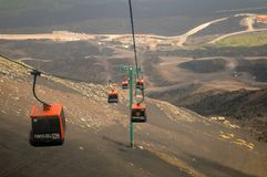 Mount Etna gondola lift Royalty Free Stock Images