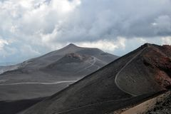 Mount Etna at the island Sicily, Italy stock images