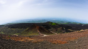 Mount Etna landscape with volcano craters in Sicily. Italy Royalty Free Stock Photos