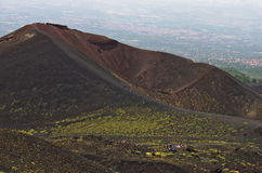 Mount Etna landscape with volcano craters in Sicily. Italy Stock Images