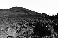 Mount Etna landscape with volcano craters in Sicily. Italy Royalty Free Stock Images