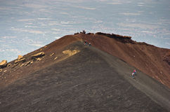 Mount Etna landscape with volcano craters in Sicily. Italy Royalty Free Stock Image