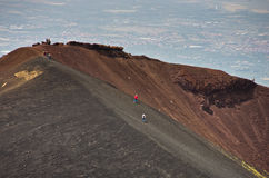 Mount Etna landscape with volcano craters in Sicily. Italy Royalty Free Stock Photo