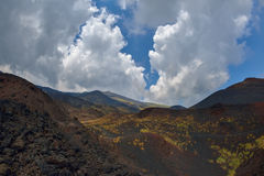 Mount Etna landscape with volcano craters in Sicily, Italy Royalty Free Stock Images