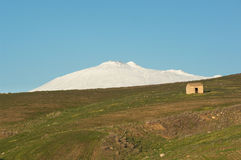 Mount Etna And Old Shack Stock Photography