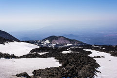 Mount Etna peak with snow and volcanic rocks, Sicily, Italy Royalty Free Stock Photos