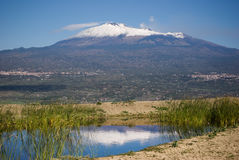 Mount Etna reflection Stock Images