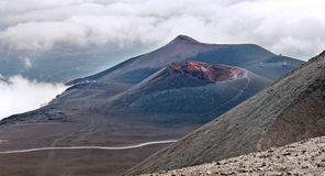 Lateral crater, Mount Etna, Sicily. The landscape with a lateral crater, Mount Etna, Sicily stock photography