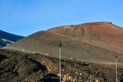 Mount Etna, Sicily, Italy - people walking in volcano in peace p Royalty Free Stock Image