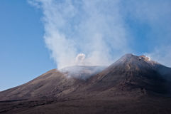 Mount Etna and the smoke. Mount Etna smoking, taken on a clear summer day height about 3000 m asl royalty free stock images