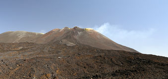 Mount Etna. With smoke coming from the crater stock photography