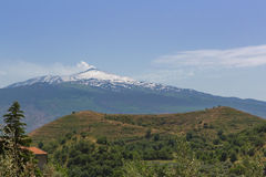 Mount etna smokes. The volcano mount etna in sicily Royalty Free Stock Image