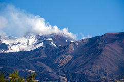 Mount Etna with the smoking peak. Mount Etna, an active stratovolcano, from the south with the smoking peak, snowy flanks, a lateral crater in the centre and a stock photos