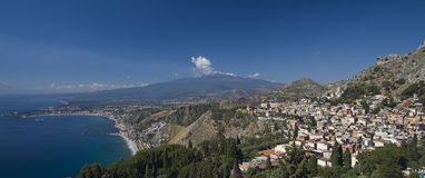 Mount Etna & Taormina. Mount Etna and Taormina, Sicily, from the Greek Theatre stock photo