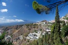 Mount Etna Taormina, Sicilien Fotografering för Bildbyråer