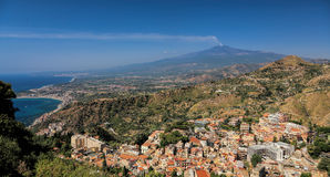 Mount Etna. And Taormina town royalty free stock images