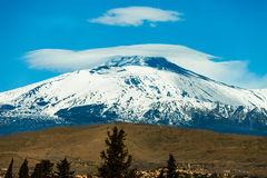 Mount Etna volcano with snow. Sicily, Italy. The snow-capped Mount Etna great. volcanic mountain of Sicily in Italy stock image