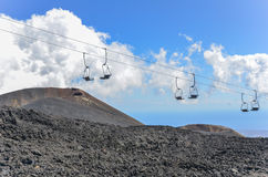 Mount Etna Vulcano craters and lift Royalty Free Stock Image