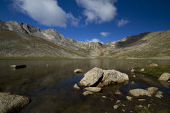 Mount Evans CO Summit Lake. A rocky mountain scenic with a reflective lake Stock Photography