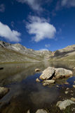 Mount Evans CO Summit Lake. A rocky mountain scenic with a reflective lake Stock Image