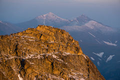 Mount Evans - Colorado. Sunrise on Mount Evans, with Grays and Torreys Peaks in the background royalty free stock photo
