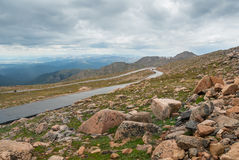 Mount Evans Highway. Highway ascending to the summit of Mount Evans in Colorado royalty free stock photography