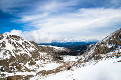 Mount Evans Summit - Colorado. Beautiful scenic view of the snow capped mountain peaks on the summit of Mt Evans. Mount Evans is one of the top travel vacation Royalty Free Stock Photography
