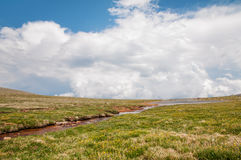 Mount Evans Tundra. Tundra scene along the trail from Summit Lake to the summit of Mount Evans in Colorado royalty free stock photo