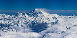 Mount Everest. View of Mount Everest from sky royalty free stock photo