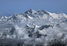 Mount Everest. Above clouds shot from plane Royalty Free Stock Images