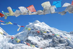 Mount Everest. With prayer flags Royalty Free Stock Image