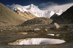 Mount Everest. The highest mountain in the world and its reflection from Tibetan side Royalty Free Stock Photo