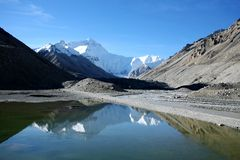 Mount Everest from the base camp Stock Photo