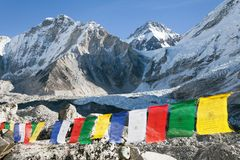 Mount Everest base camp with buddhist prayer flags Stock Photography
