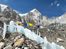 Mount Everest base camp, tents, Khumbu glacier. And mountains, sagarmatha national park, trek to Everest base camp - Nepal Himalayas mountains royalty free stock photography
