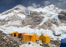 Mount Everest base camp, tents, Khumbu glacier. And mountains, sagarmatha national park, trek to Everest base camp - Nepal Himalayas mountains stock photo