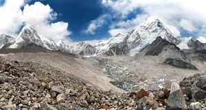 Mount Everest with beautiful sky and Khumbu Glacier Royalty Free Stock Photography