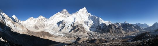 Mount Everest with beautiful sky and Khumbu Glacier Stock Images