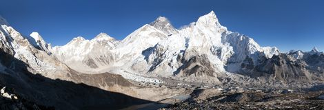 Mount Everest with beautiful sky and Khumbu Glacier Stock Photography
