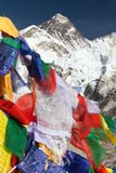Mount Everest with buddhist prayer flags Royalty Free Stock Photos