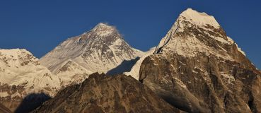 Mount Everest and Cholatse in autumn. Stock Photos