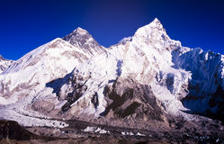 Mount Everest. With clear blue sky in the Nepal Himalaya mountain range stock images
